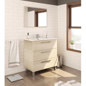 CAESAROO Meuble de salle de bain 3 tiroirs sur le sol 80 cm chêne clair avec miroir    Chêne clair - Avec double colonne et lampe LED - Publicité