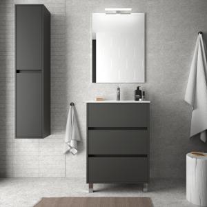 CAESAROO Meuble de salle de bain sur le sol 60 cm gris opaque avec lavabo en porcelaine   Avec miroir et lampe LED - Publicité