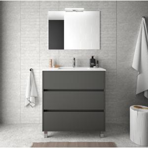 CAESAROO Meuble de salle de bain sur le sol 80 cm gris opaque avec lavabo en porcelaine   Avec miroir et lampe LED - Publicité