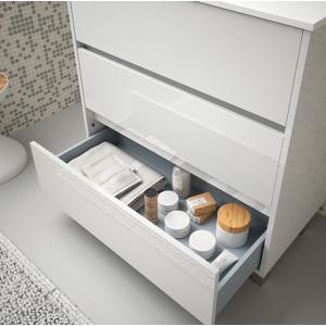 CAESAROO Meuble de salle de bain sur le sol 80 cm Blanc laque avec lavabo en porcelaine   Avec miroir et lampe LED - Publicité