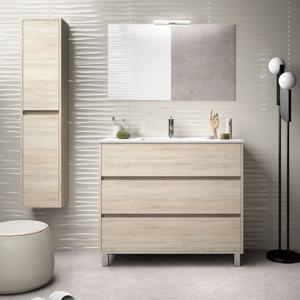 CAESAROO Meuble de salle de bain sur le sol 100 cm marron Caledonia avec lavabo en porcelaine   Avec miroir et lampe LED - Publicité