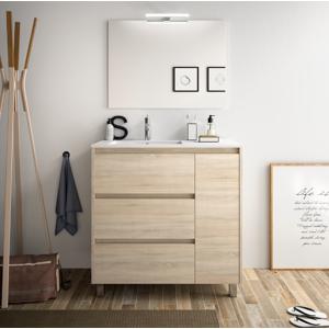 CAESAROO Meuble de salle de bain sur le sol 85 cm marron Caledonia avec lavabo en porcelaine   Avec colonne - Publicité