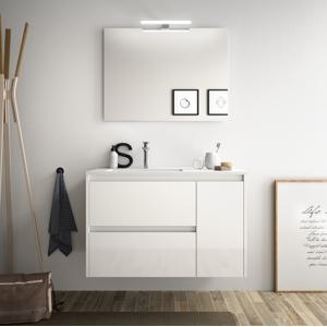 CAESAROO Meuble de salle de bain suspendu 85 cm Blanc laque avec lavabo en porcellain à encastrer   Avec colonne, miroir et lampe LED - Publicité