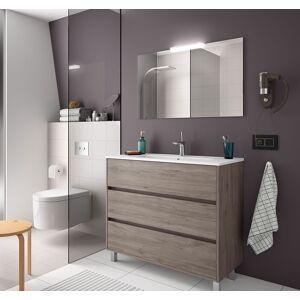 CAESAROO Meuble de salle de bain sur le sol 100 cm Chêne eternity avec lavabo en porcelaine   100 cm - Avec double colonne, miroir et lampe à LED - Publicité