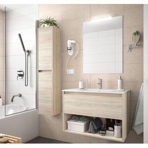 CAESAROO Meuble de salle de bain suspendu 60 cm marron Caledonia avec un tiroir et un espace   60 cm - Avec colonne - Publicité