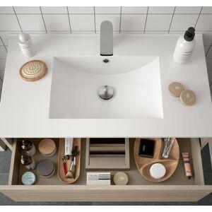 CAESAROO Meuble de salle de bain suspendu 80 cm marron Caledonia avec un tiroir et un espace   80 cm - Avec colonne - Publicité
