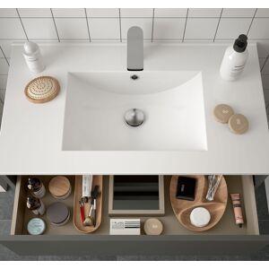 CAESAROO Meuble de salle de bain suspendu 100 cm gris opaque avec un tiroir et un espace   Avec miroir et lampe LED - 100 cm - Publicité