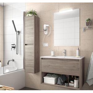 CAESAROO Meuble de salle de bain suspendu 100 cm Chêne eternity avec un tiroir et un espace   Avec miroir et lampe LED - 100 cm - Publicité