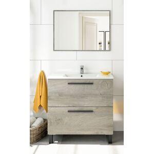 CAESAROO Meuble de salle de bain sur le sol 80 cm Chêne avec lavabo et miroir    Chêne clair - Standard - Publicité