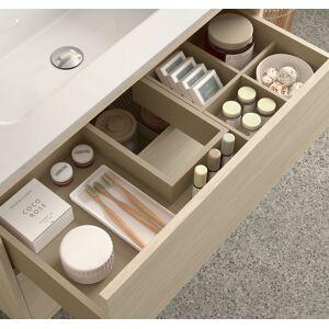 CAESAROO Meuble de salle de bain suspendu 100 cm Ulisse en bois couleur Nordik avec lavabo en porcelaine   100 cm - Standard - Publicité