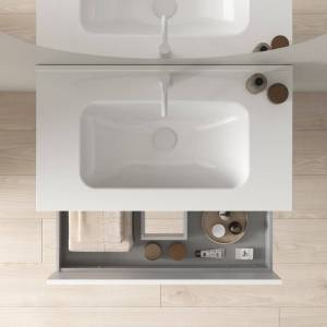 CAESAROO Meuble de salle de bain sur le sol 80 cm Minnesota Fumé sablé avec lavabo   80 cm - Avec miroir et lampe LED - Fumée - Publicité