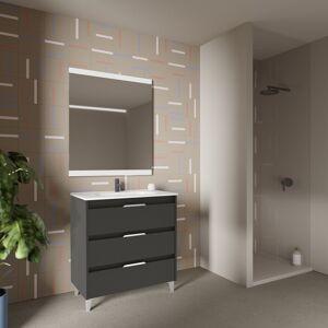 CAESAROO Meuble de salle de bains sur pied 100 cm Minnesota Anthracite avec lavabo   100 cm - Avec miroir et lampe LED - Anthracite - Publicité