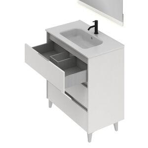 CAESAROO Meuble de salle de bains sur pied 80 cm Minnesota Blanc brillant avec lavabo   Blanc - 80 cm - Avec miroir et lampe LED - Publicité
