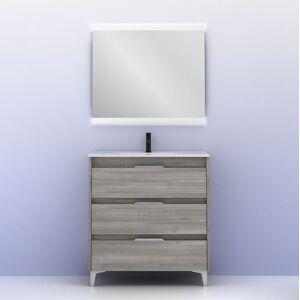 CAESAROO Meuble de salle de bains à poser 80 cm Minnesota Gris sablé avec lavabo   gris - 80 cm - Avec miroir et lampe LED - Publicité
