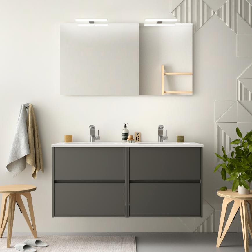 CAESAROO Meuble de salle de bain suspendu 120 cm gris opaque avec lavabo en porcelaine   Avec miroir, double colonne et double lampe LED