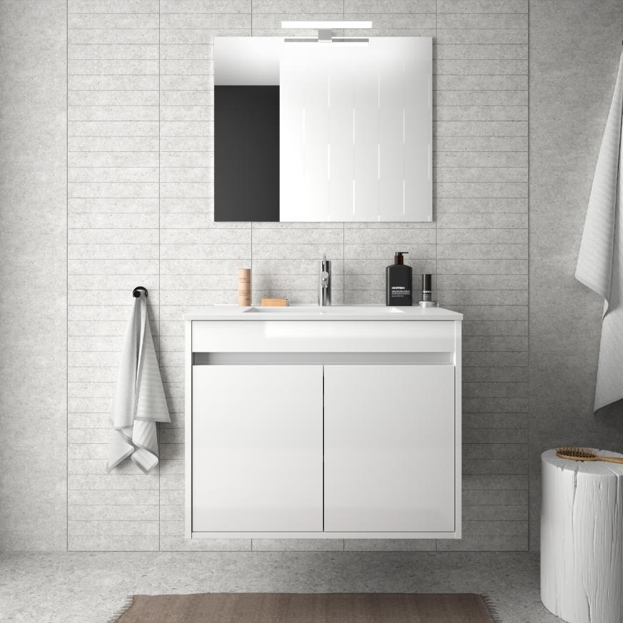 CAESAROO Meuble de salle de bain suspendu 70 cm Blanc laque avec deux portes   Avec double colonne, miroir et lampe à LED