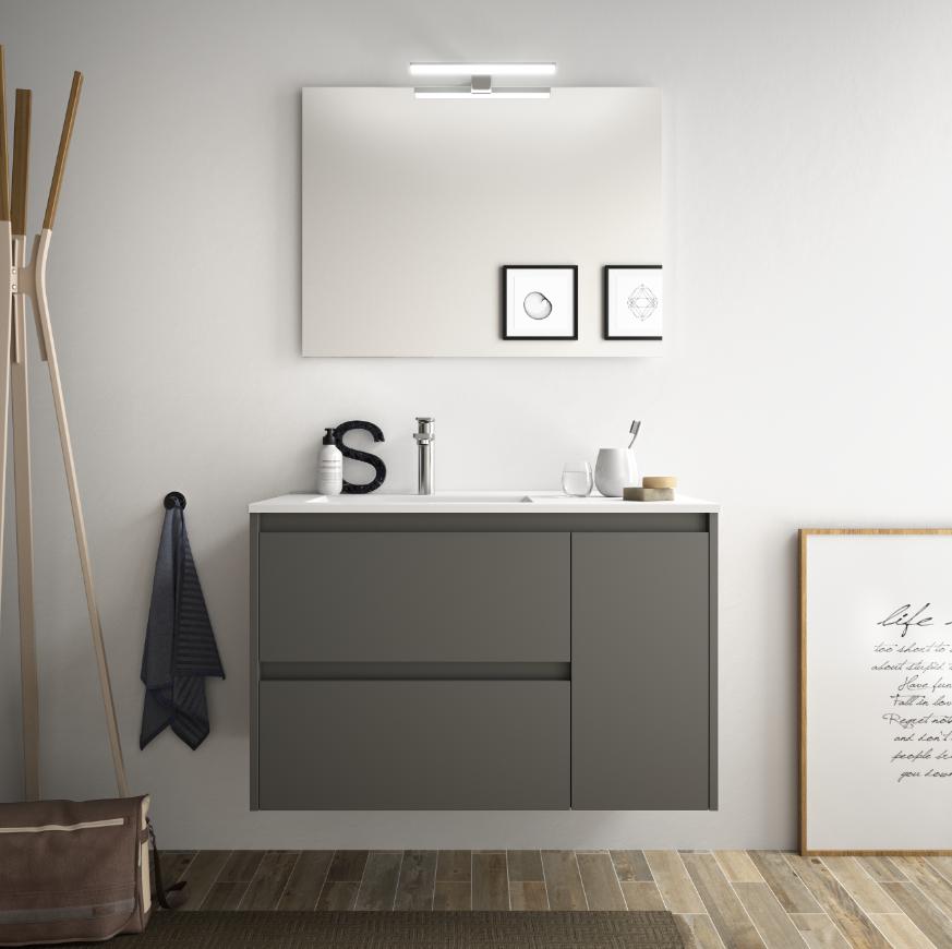 CAESAROO Meuble de salle de bain suspendu 85 cm gris opaque avec lavabo en porcellain à encastrer   Avec double colonne, miroir et lampe à LED