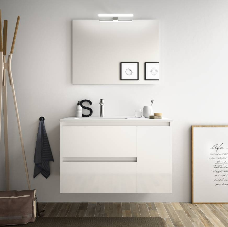 CAESAROO Meuble de salle de bain suspendu 85 cm Blanc laque avec lavabo en porcellain à encastrer   Avec colonne