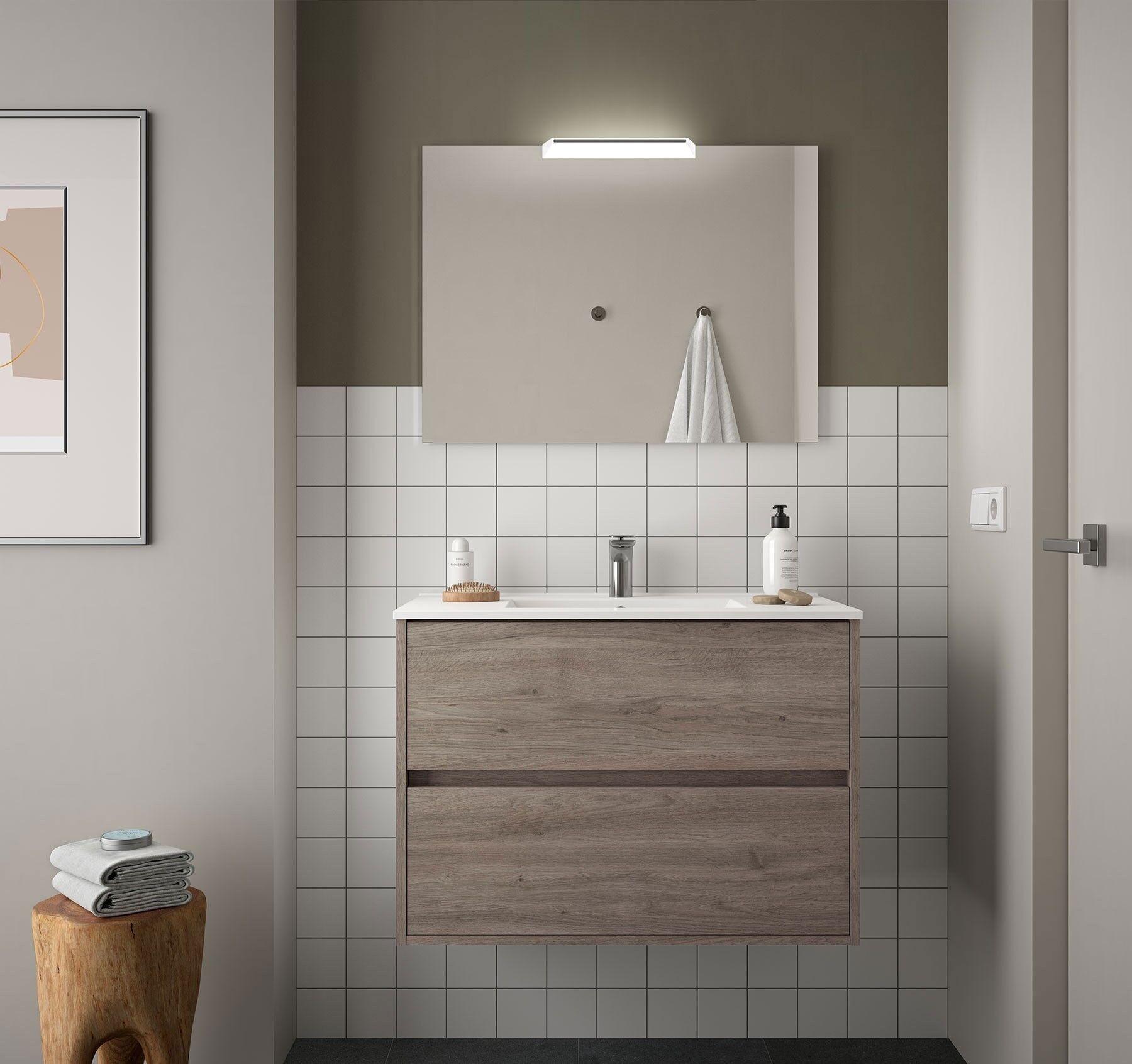 CAESAROO Meuble de salle de bain suspendu 90 cm chêne eternity avec lavabo en porcelaine   90 cm - Avec double colonne, miroir et lampe à LED