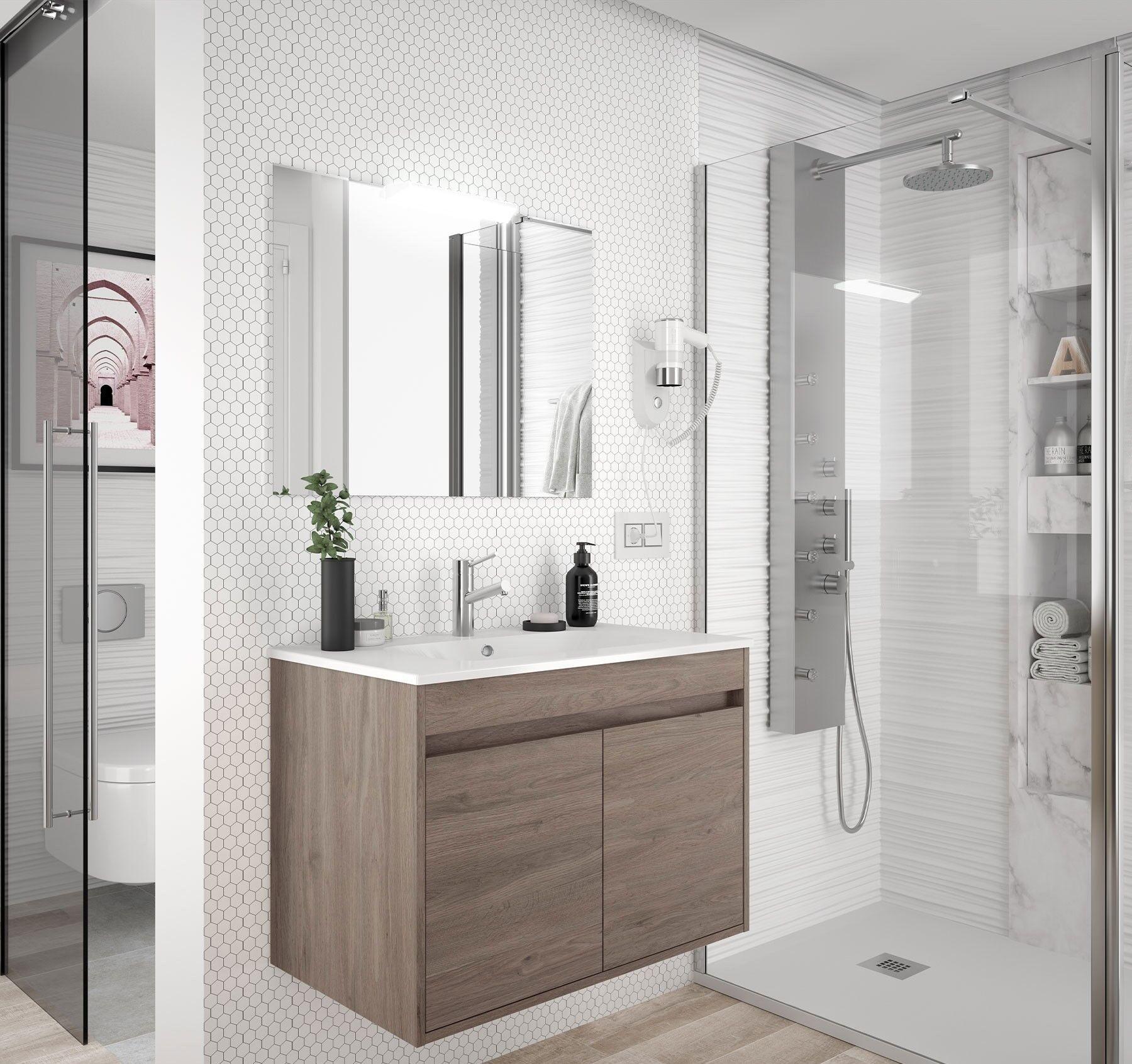 CAESAROO Meuble de salle de bain suspendu 80 cm Chêne eternity avec deux portes   80 cm - Avec double colonne, miroir et lampe à LED