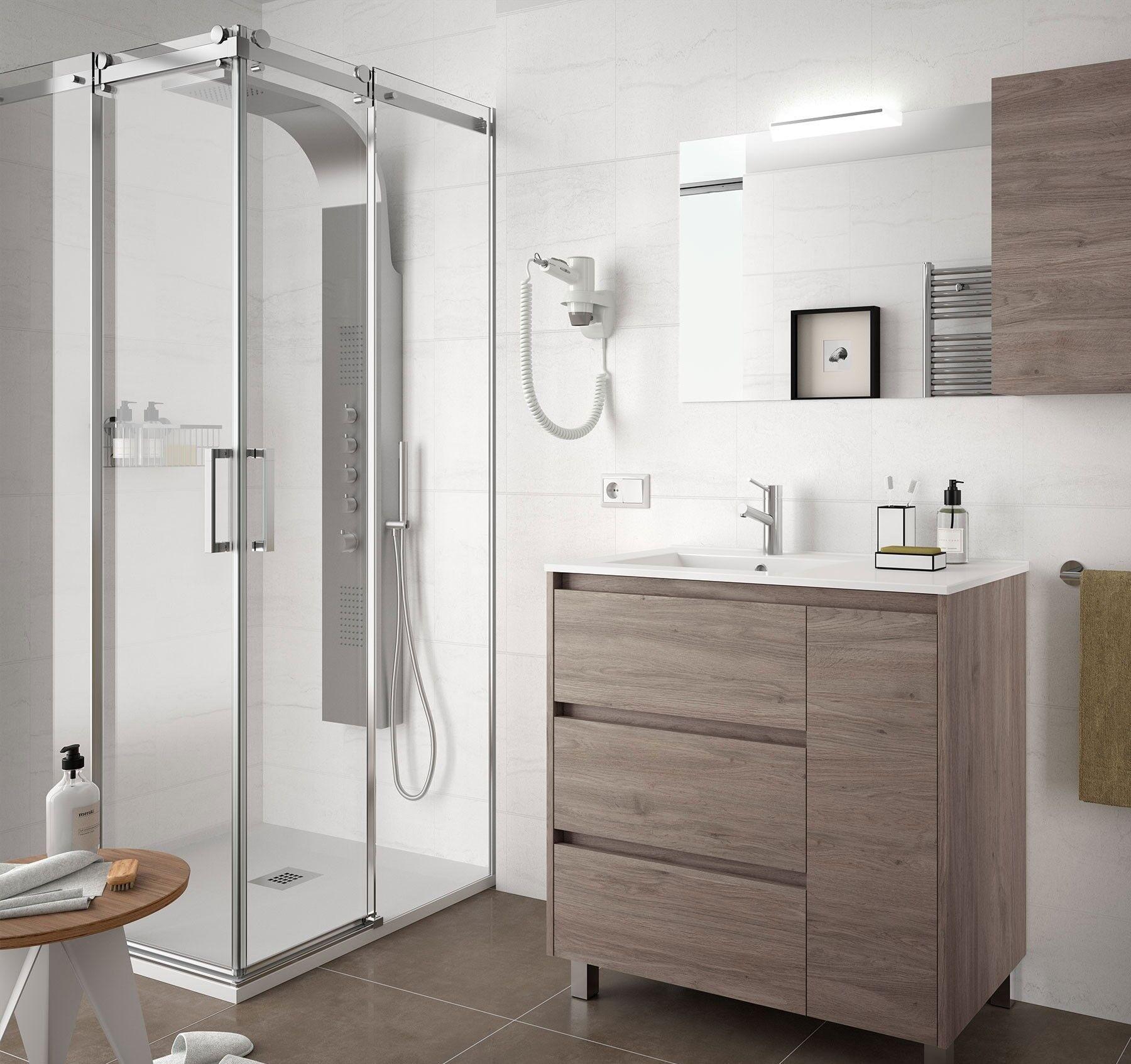 CAESAROO Meuble de salle de bain sur le sol 85 cm Chêne eternity avec lavabo en porcelaine   85 cm - Avec double colonne, miroir et lampe à LED
