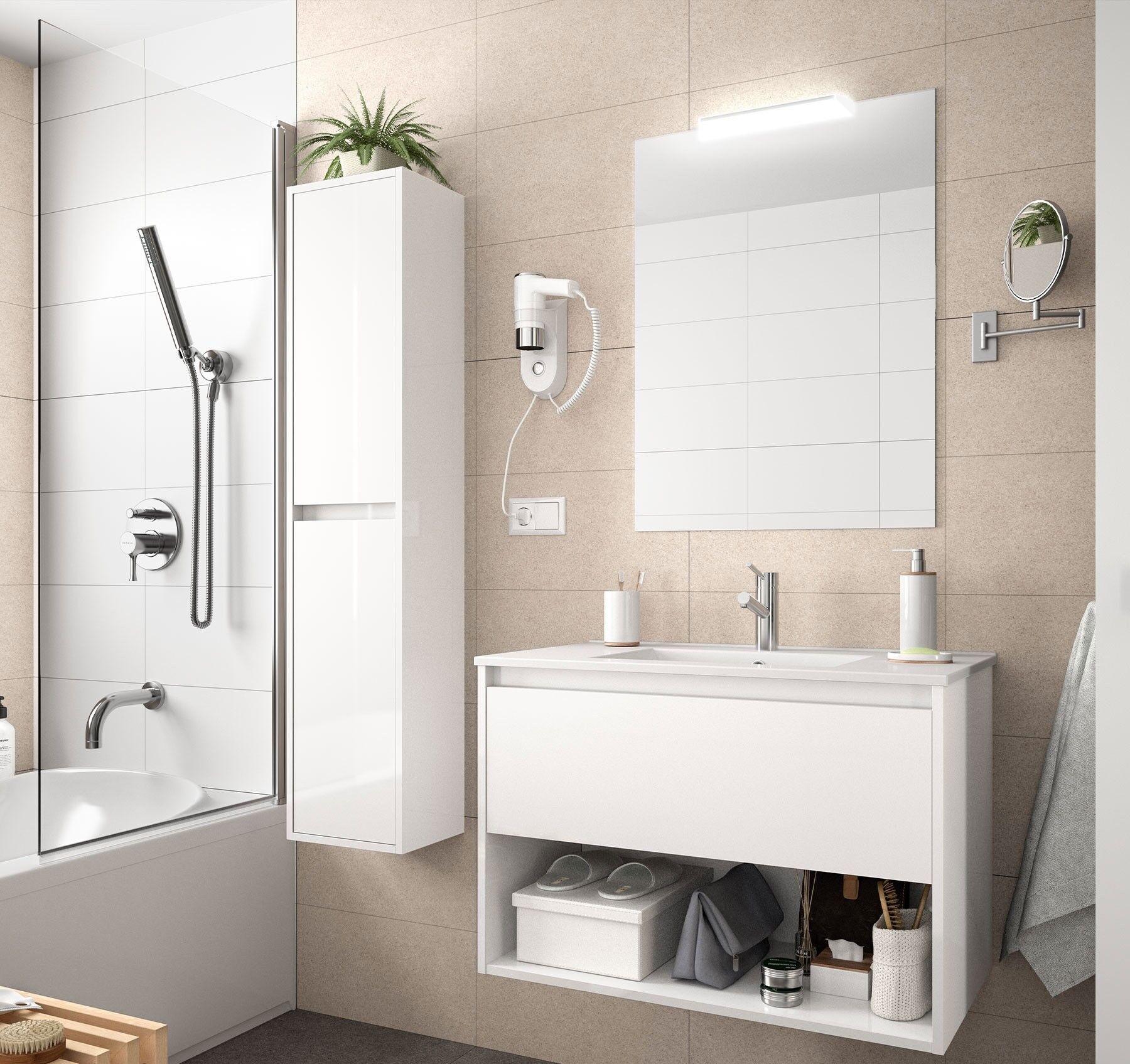 CAESAROO Meuble de salle de bain suspendu 80 cm Blanc brillant avec un tiroir et un espace   80 cm - Avec double colonne, miroir et lampe à LED