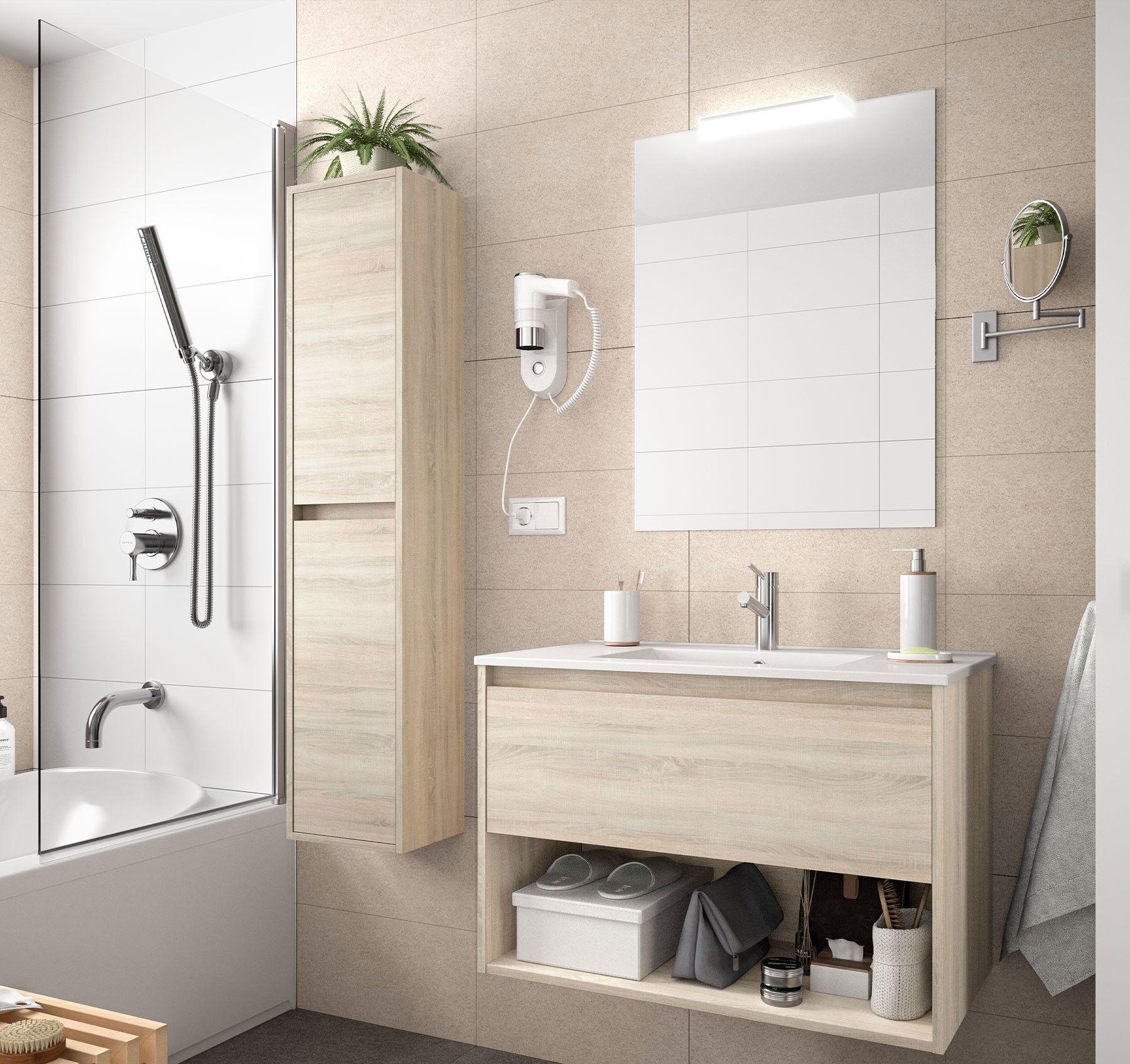 CAESAROO Meuble de salle de bain suspendu 100 cm marron Caledonia avec un tiroir et un espace   100 cm - Avec double colonne, miroir et lampe à LED