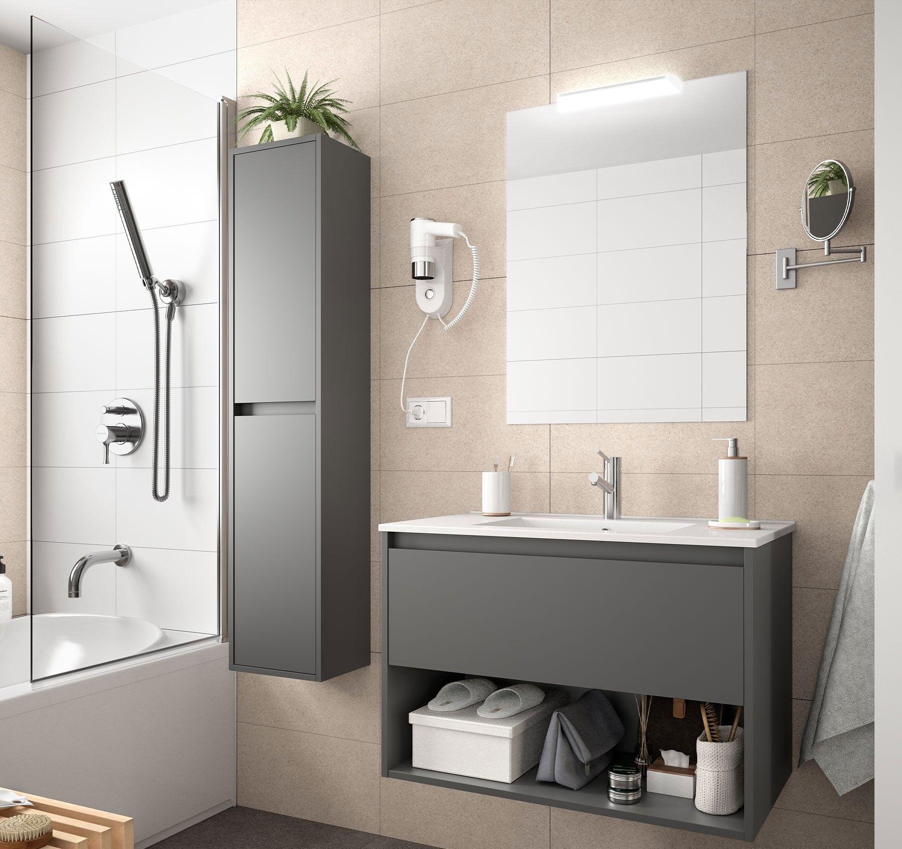 CAESAROO Meuble de salle de bain suspendu 100 cm gris opaque avec un tiroir et un espace   100 cm - Avec double colonne, miroir et lampe à LED