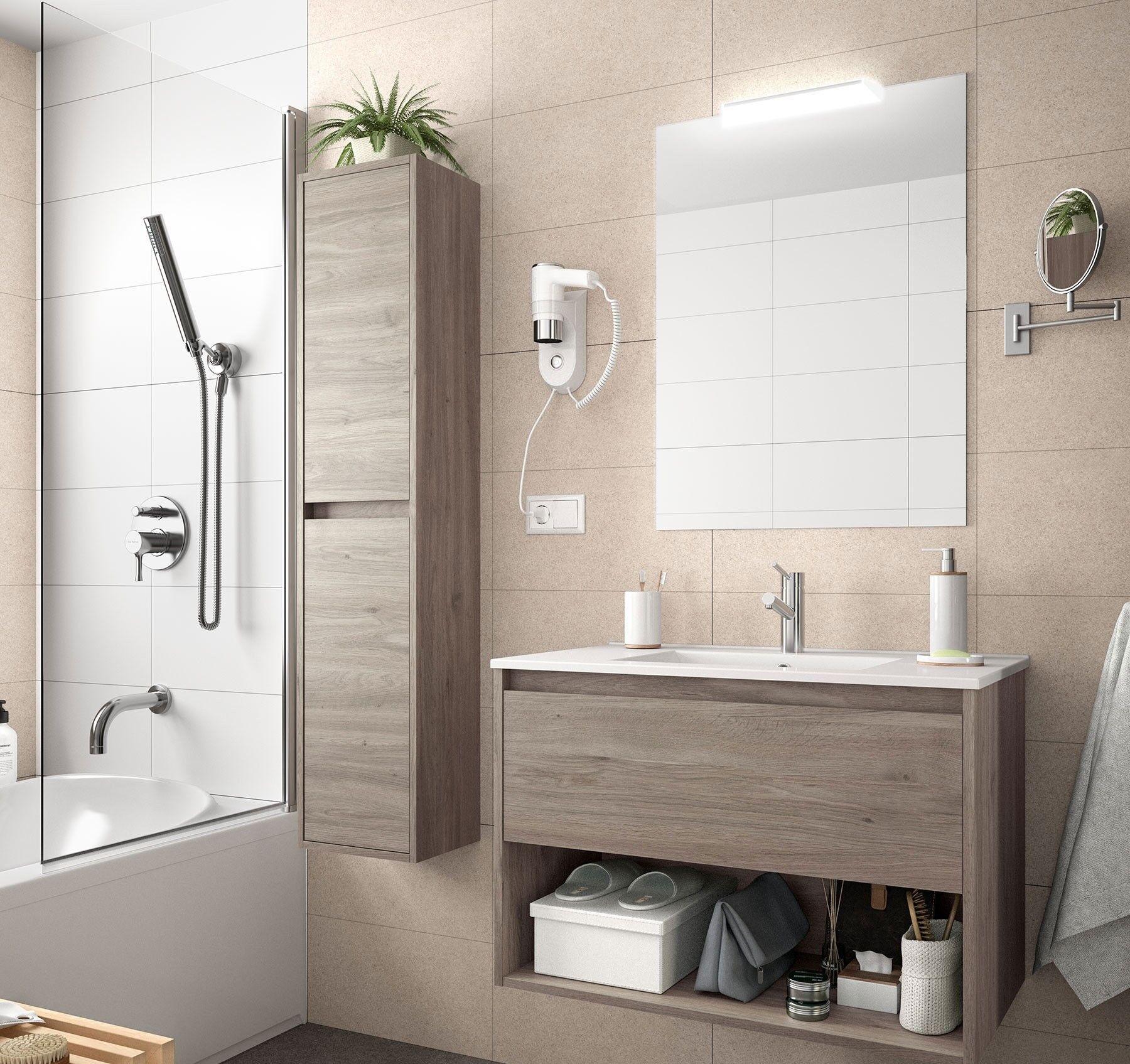 CAESAROO Meuble de salle de bain suspendu 100 cm Chêne eternity avec un tiroir et un espace   100 cm - Avec double colonne, miroir et lampe à LED