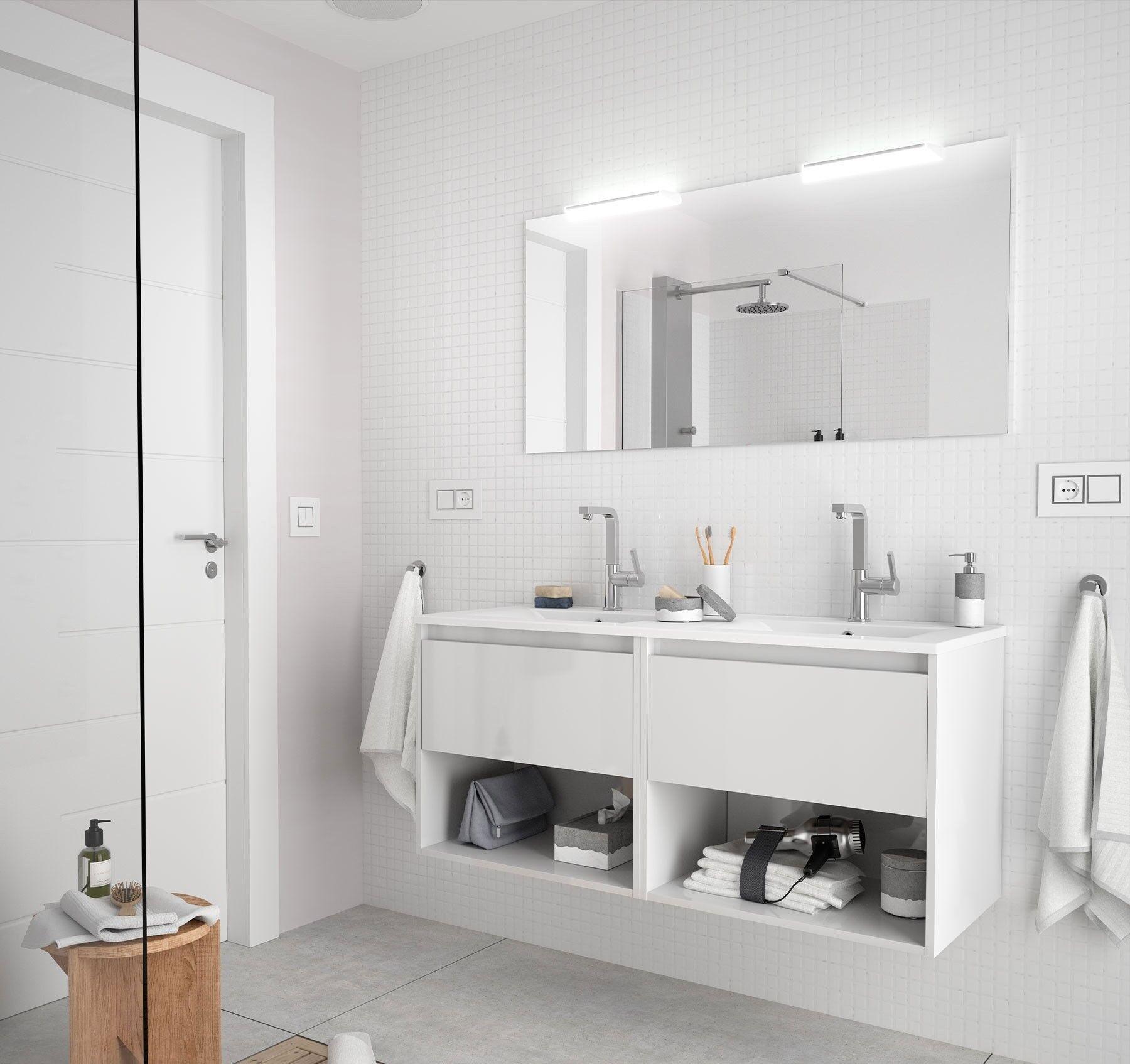 CAESAROO Meuble de salle de bain suspendu 120 cm Blanc brillant avec deux tiroirs et deux espaces   Avec miroir, double colonne et double lampe LED