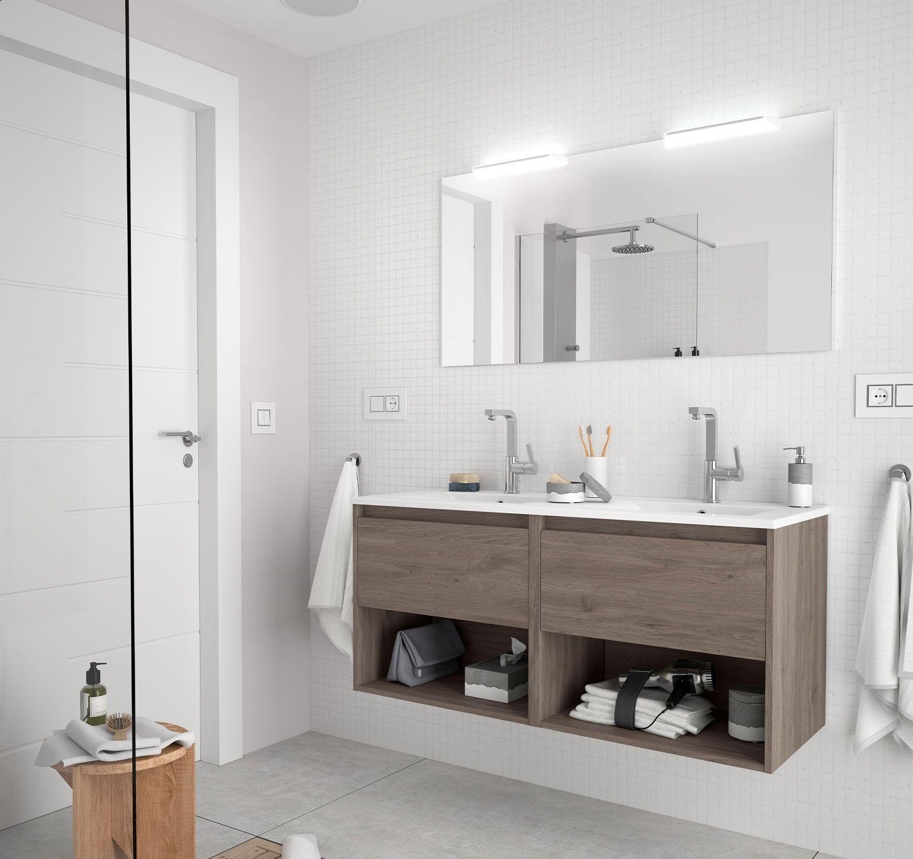 CAESAROO Meuble de salle de bain suspendu 120 cm Chêne eternity avec deux tiroirs et deux espaces   120 cm - Avec double miroir et lampe LED