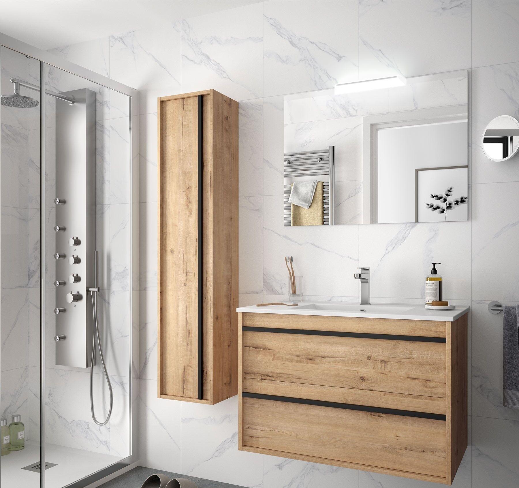 CAESAROO Meuble de salle de bain suspendu 80 cm Nevada en bois couleur chêne ostippo avec lavabo en porcelaine   80 cm - Avec double colonne, miroir et lampe à LED