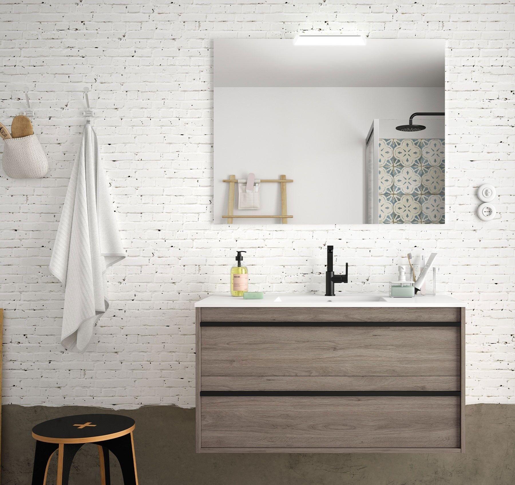 CAESAROO Meuble de salle de bain suspendu 100 cm Nevada en bois couleur chêne eternity avec lavabo en porcelaine   100 cm - Avec double colonne, miroir et lampe à LED