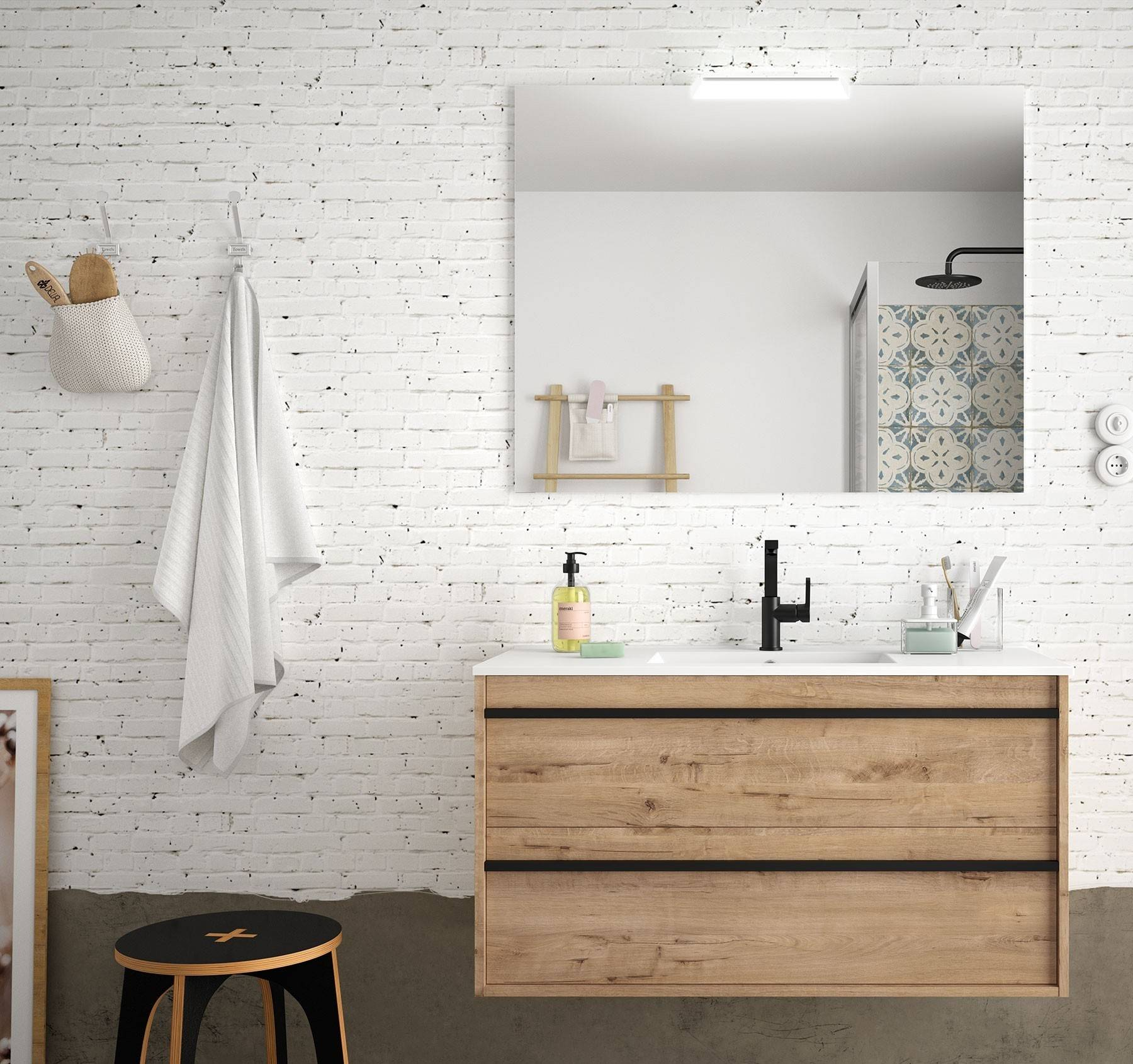 CAESAROO Meuble de salle de bain suspendu 100 cm Nevada en bois couleur chêne ostippo avec lavabo en porcelaine   100 cm - Avec double colonne, miroir et lampe à LED
