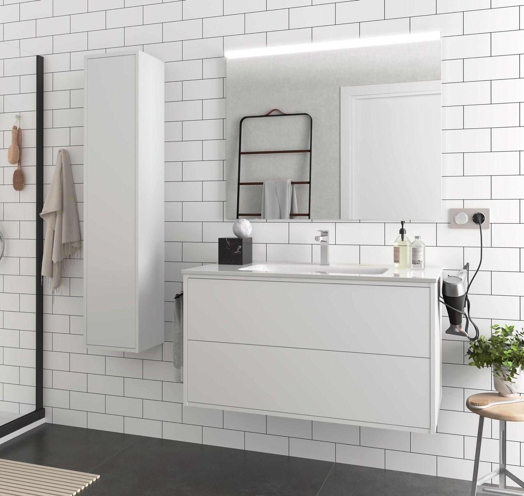 CAESAROO Meuble de salle de bain suspendu 100 cm Ulisse en bois Blanc mat avec lavabo en porcelaine   100 cm - Avec double colonne, miroir et lampe à LED