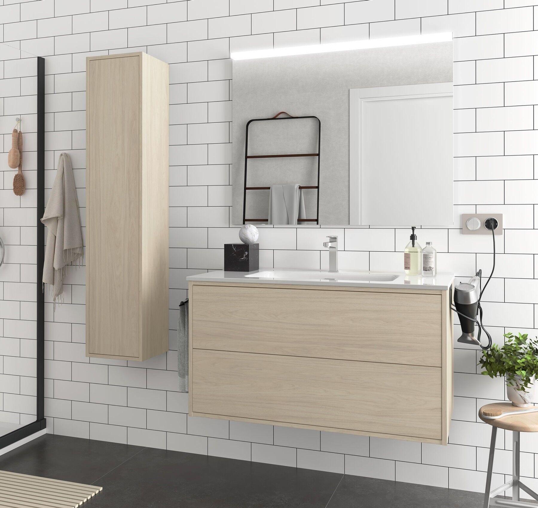 CAESAROO Meuble de salle de bain suspendu 100 cm Ulisse en bois couleur Nordik avec lavabo en porcelaine   100 cm - Avec double colonne, miroir et lampe à LED