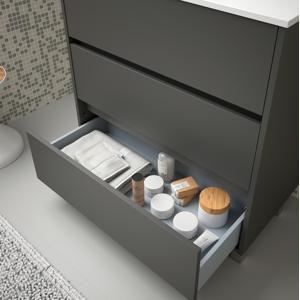 CAESAROO Meuble de salle de bain sur le sol 100 cm gris opaque avec lavabo en porcelaine   Avec miroir et lampe LED - Publicité