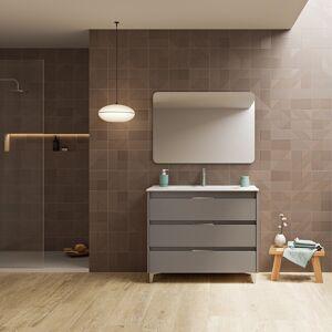 CAESAROO Meuble de salle de bains sur le sol100 cm Minnesota Gris sablé avec lavabo   gris - 100 cm - Avec miroir et lampe LED - Publicité