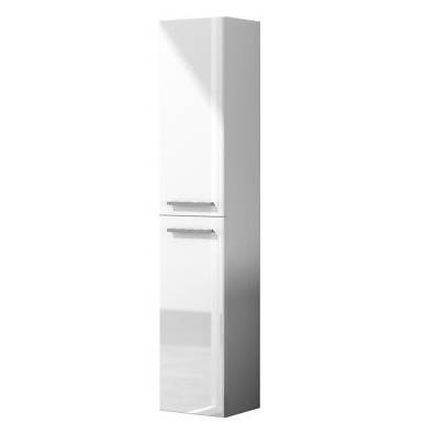 CAESAROO Colonne de salle de bain suspendue 2 portes blanc brillant   Blanc