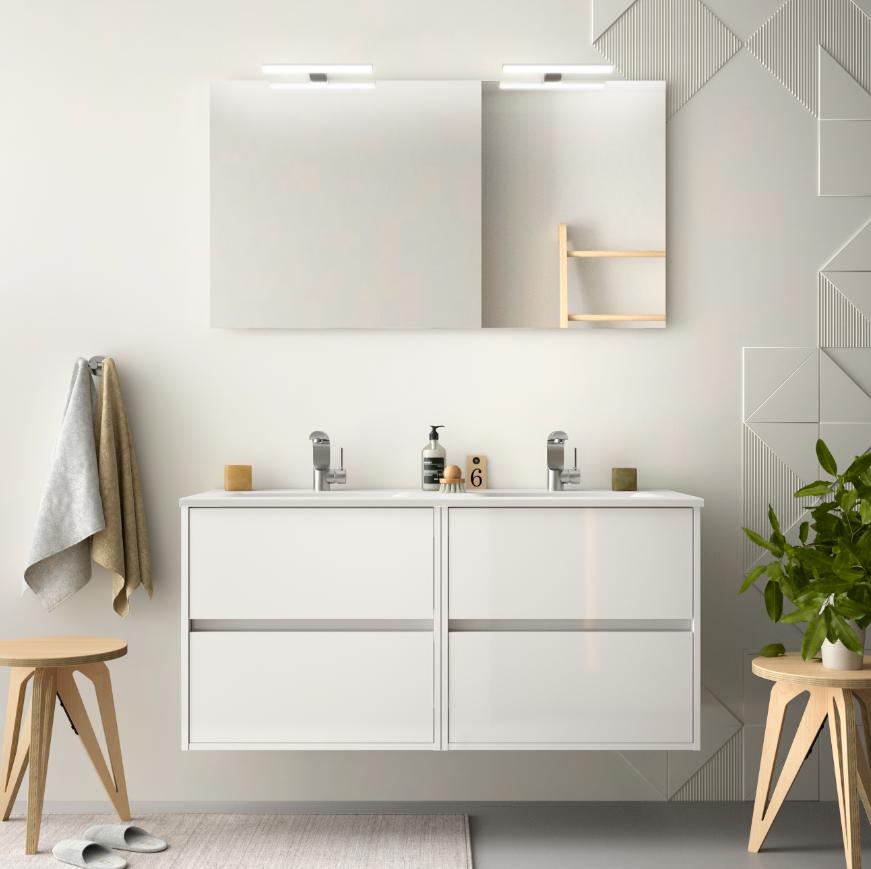 CAESAROO Meuble de salle de bain suspendu 120 cm blanc laque avec lavabo en porcelaine   Avec miroir et double lampe LED
