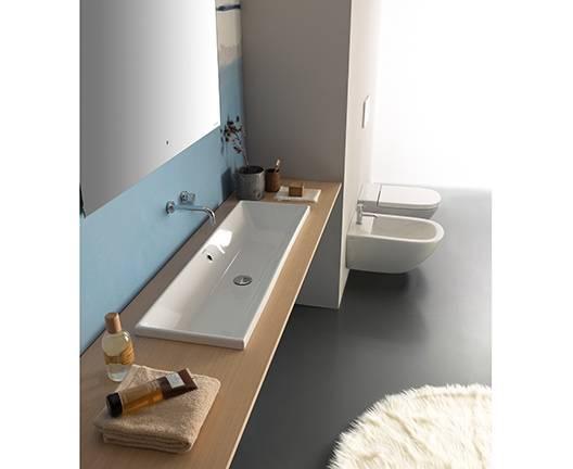 CAESAROO Lavabo encastré 75x34 cm en céramique Globo Stockholm   Blanc brillant