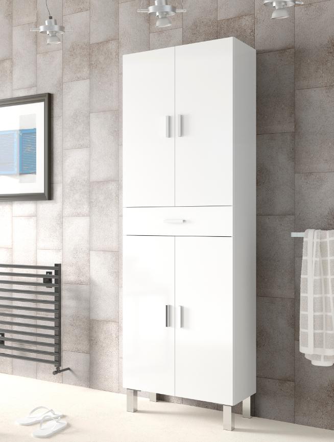 CAESAROO Colonne de salle de bains sur pied blanche brillante avec quatre portes et un tiroir   Blanc brillant