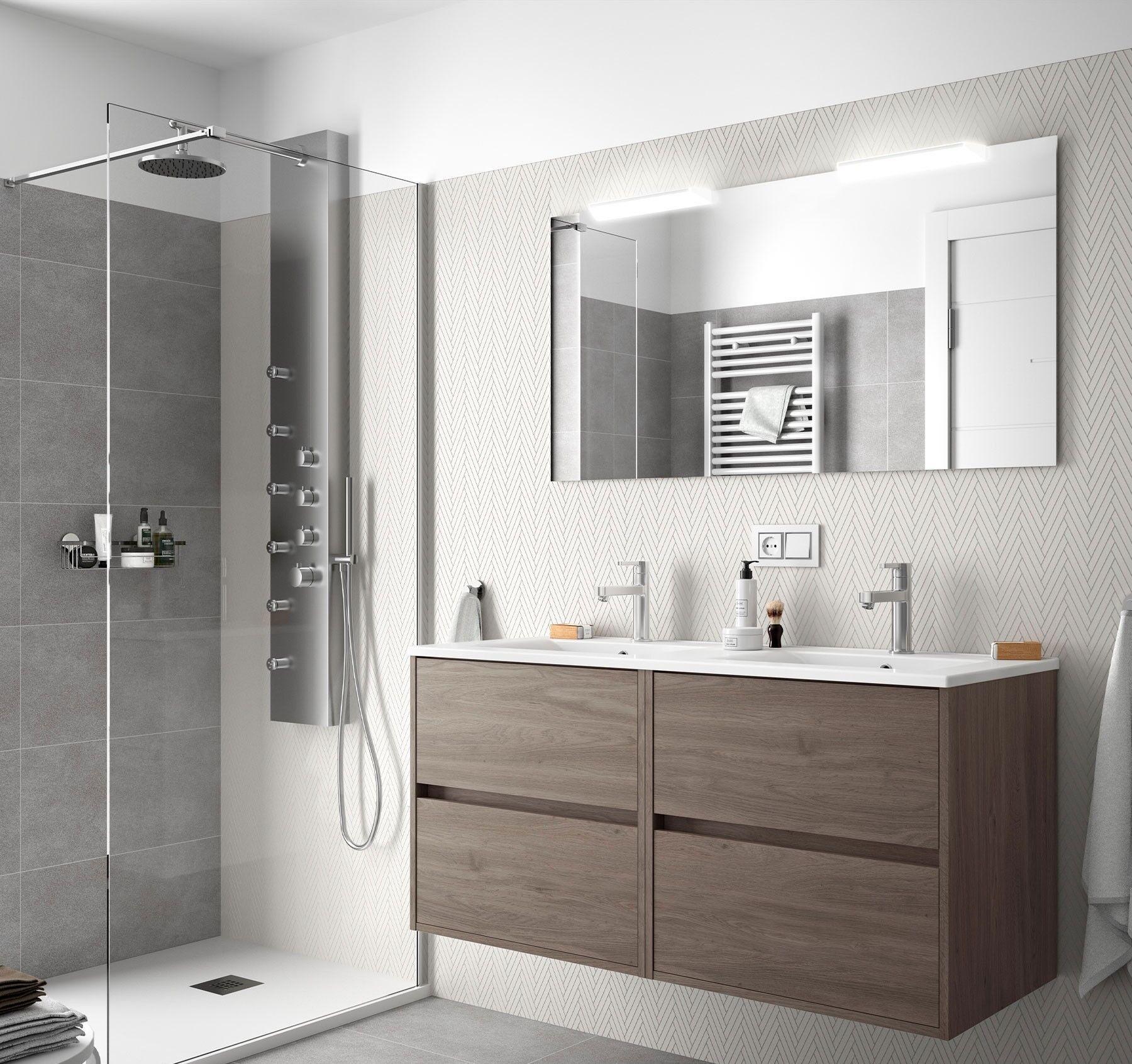 CAESAROO Meuble de salle de bain suspendue 120 cm en bois Chêne eternity avec lavabo en porcelaine   Standard - 120 cm