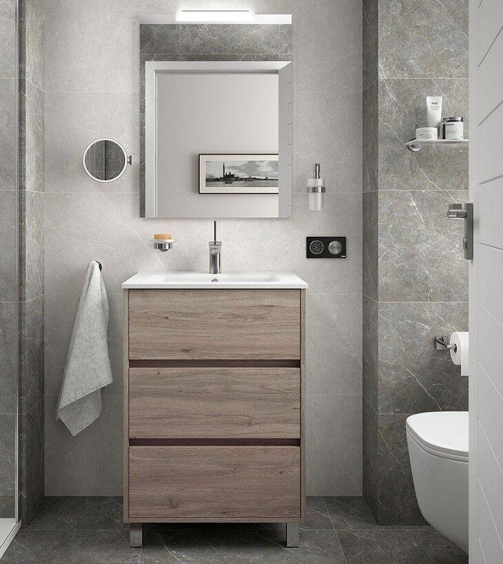 CAESAROO Meuble de salle de bain sur le sol 60 cm Chêne eternity avec lavabo en porcelaine   60 cm - Avec double colonne, miroir et lampe à LED