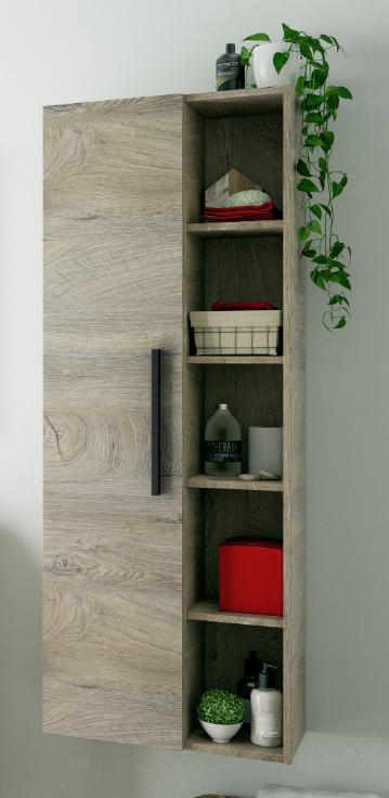 CAESAROO Colonne de salle de bain suspendue chêne avec une porte et 7 étagères    Chêne clair