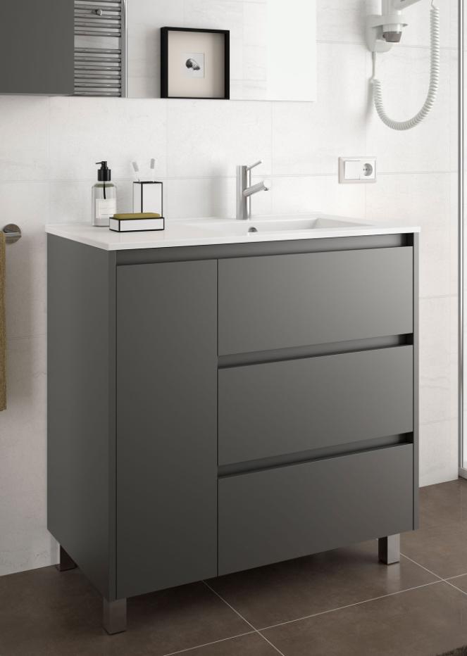 CAESAROO Meuble de salle de bain sur le sol 85 cm gris opaque avec lavabo vasque droite   Avec double colonne, miroir et lampe à LED