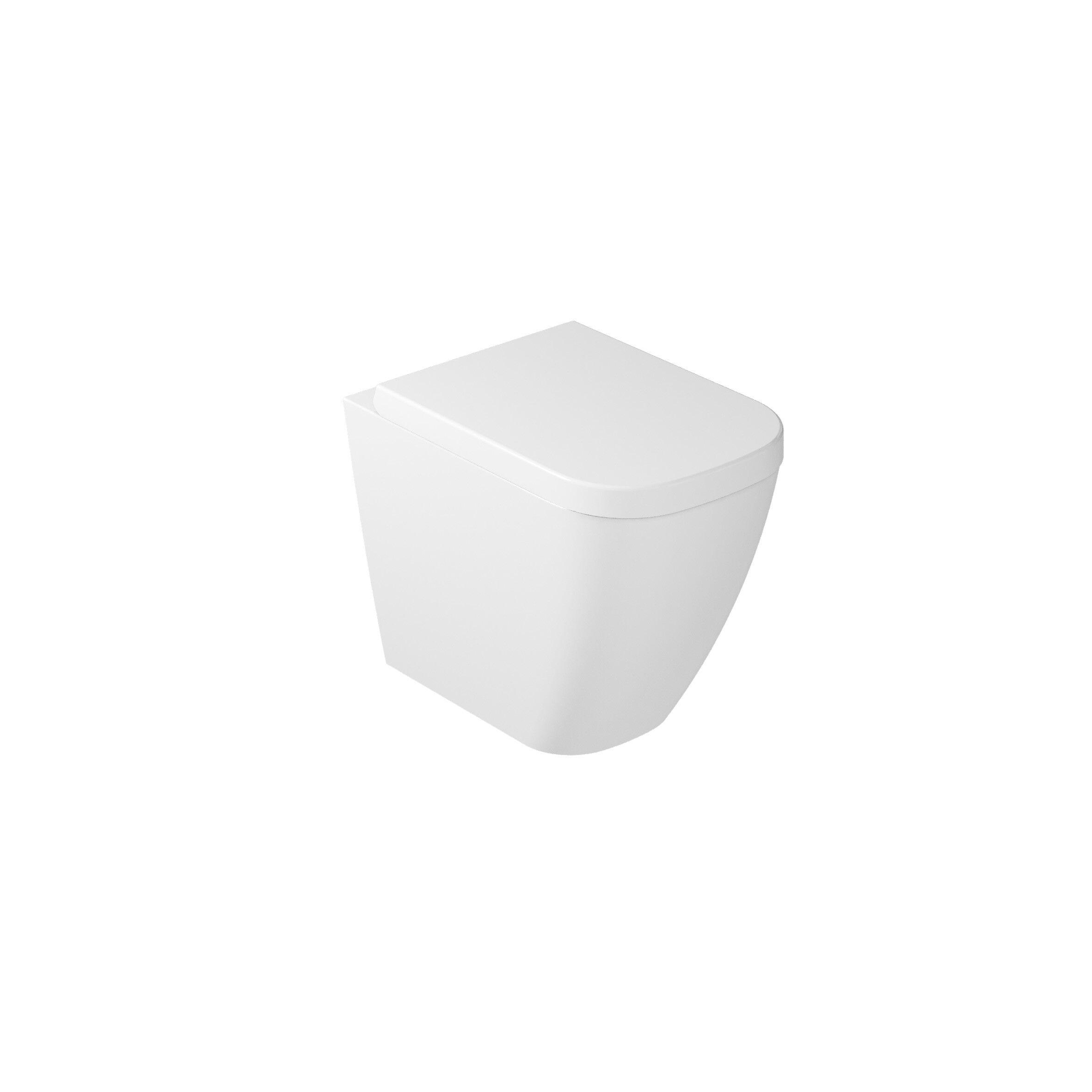 CAESAROO Vase sur pied en céramique blanche brillante Galassia série Meg11   Blanc brillant - Avec abattant wc