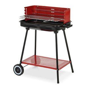 CAESAROO Barbecue charbon de bois avec coupe-vent et roues   Acier - Publicité
