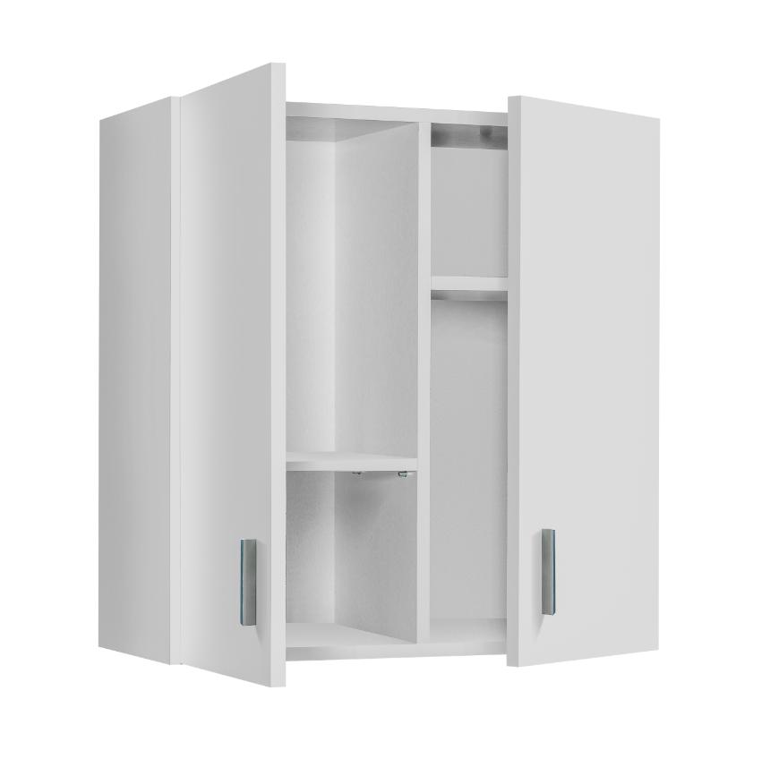 CAESAROO Armoire murale Blanc mat avec 2 portes et 2 étagères coulissantes   Blanc