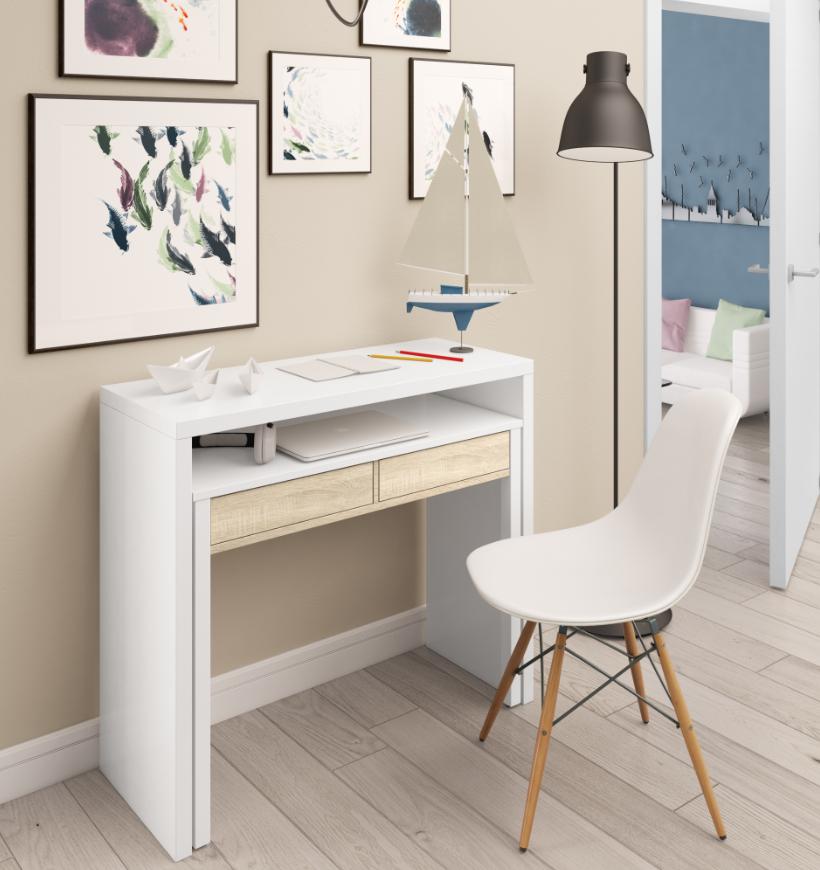 CAESAROO Bureau 98,5x36 cm extensible Blanc arctique et Roble Canadien avec deux tiroirs   Couleur